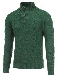 Fisherman Knitted Stand Collar Button Pullover Sweater - GREEN 2XL