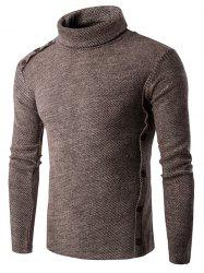 Asymmetric Adorn Button Turtleneck Sweater