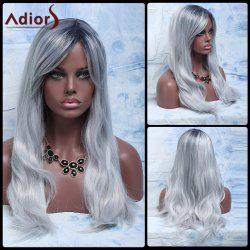Attractive Long Gray Mixed Synthetic Fluffy Natural Wave Adiors Wig For Women