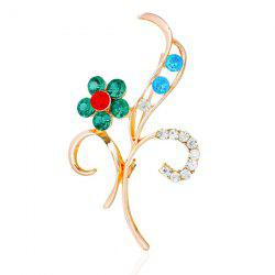 Flower Leaf Rhinestone Brooch