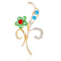 Flower Leaf Rhinestone Brooch -