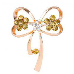 Rhinestone Hollowed Bowknot Brooch - GOLDEN