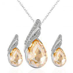 Rhinestone Fake Crystal Teardrop Jewelry Set - GOLDEN