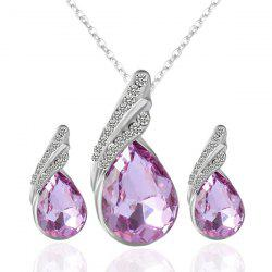 Rhinestone Fake Crystal Teardrop Jewelry Set - PURPLE