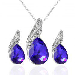 Rhinestone Fake Crystal Teardrop Jewelry Set - BLUE