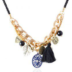 Retro Tassel Heart Disc Necklace