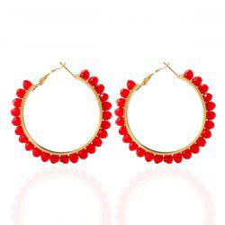 Fake Crystal Bead Hoop Earrings - RED