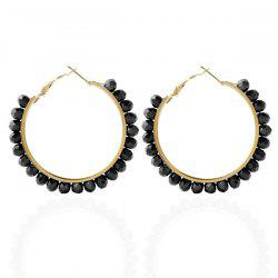 Fake Crystal Bead Hoop Earrings -