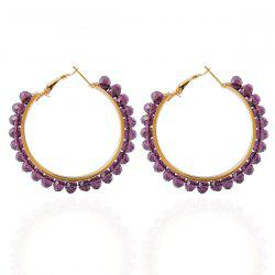 Fake Crystal Bead Hoop Earrings