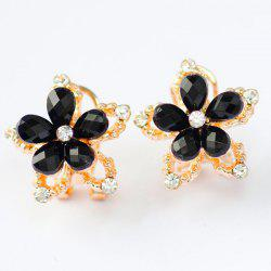 Rhinestone Hollowed Floral Stud Earrings -