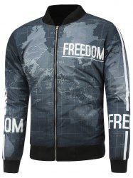 Map Print Stand Collar Zip Up Padded Jacket -