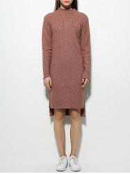 Long Sleeve High Neck Fitted Jumper Dress -