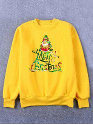 Printed Crew Neck Christmas Yellow Sweatshirt - YELLOW 2XL