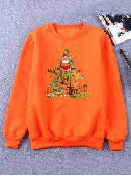 Printed Crew Neck Christmas Orange Sweatshirt