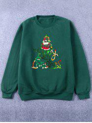Printed Crew Neck Christmas Green Sweatshirt -