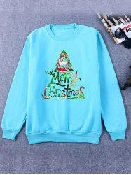 Printed Crew Neck Christmas Blue Sweatshirt -