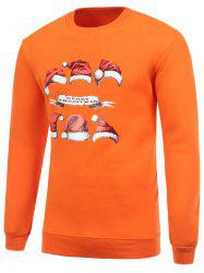 Hat Print Crew Neck Flocking Christmas Orange Sweatshirt -