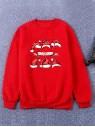 Hat Print Crew Neck Flocking Christmas Sweatshirt
