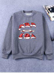 Hat Print Crew Neck Flocking Christmas Sweatshirt - DEEP GRAY