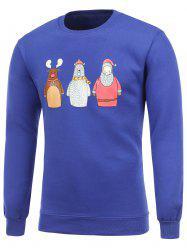 Flocking Crew Neck Funny Christmas Blue Sweatshirt