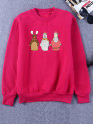 Flocking Crew Neck Funny Christmas Sweatshirt