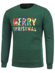 Crew Neck Flocking Merry Christmas Green Sweatshirt -