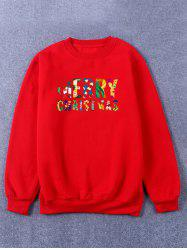 Crew Neck Flocking Merry Christmas Sweatshirt