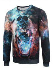 Flocking 3D Abstract Galaxy Bear Print Trippy Sweatshirt