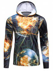 3D Fireworks Print Hooded Long Sleeve Flocking Trippy Hoodie - COLORMIX 4XL