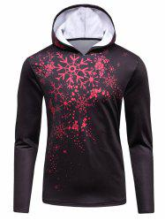 3D Snowflake Print Hooded Long Sleeve Flocking Hoodie - BROWN