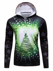 3D Christmas Tree and Stars Print Flocking Hoodie - GREEN 4XL