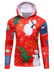 3D Christmas Tree and Snowman Print Flocking Hoodie - RED 4XL
