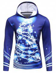 3D Christmas Tree Print Flocking Hoodie - BLUE 4XL