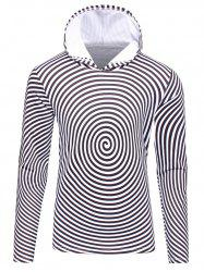 3D Spiral Stripe Print Flocking Black and White Hoodie men