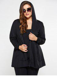Zip Up Skirted Plus Size Hoodie - BLACK
