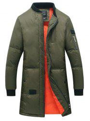 Stand Collar Thicken Lengthen Zip Up Down Coat
