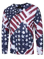 Stars and Stripes Print V Neck Single Breasted Jacket -