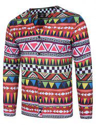 Colorful Geometric Print V Neck Single Breasted Jacket