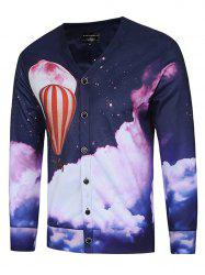 3D Fire Balloon Print V Neck Trippy Jacket