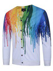 3D Colorful Splatter Paint Print V Neck Single Breasted Jacket - WHITE 3XL
