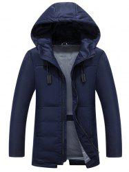 Hooded Drawstring Design Zip Up Down Jacket -