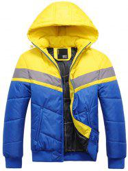 Hooded Color Block Spliced Zip Up Thicken Padded Jacket -