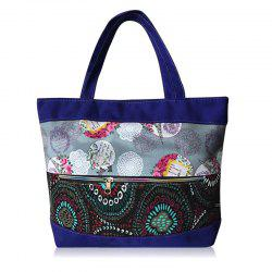 Zipper Floral Print Colour Block Shoulder Bag - BLUE