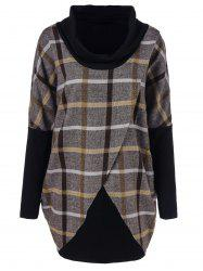 Cowl Neck Plaid Overlap Tee - CHECKED L
