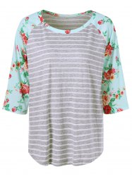 Plus Size Floral and Striped Tee - STRIPE XL