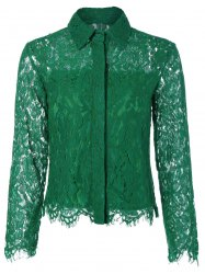 See Thru Lace Slim Fit Blouse - GREEN 2XL