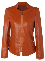 Slim Fit Faux Leather Jacket - ORANGE