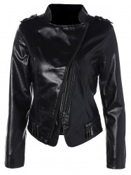 Skew Zipper Slim Fit Faux Leather Jacket