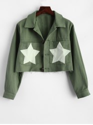 Star Frayed Hem Cropped Jacket