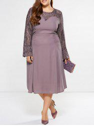 Plus Size Midi Bell Sleeve Lace Insert Dress